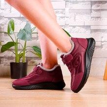 Женские повседневные зимние кроссовки на крючках; теплые зимние ботильоны на меху; зимние ботинки на платформе; Уличная обувь из флока; обувь на плоской подошве