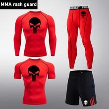 T-Shirt Tights Fitness-Pants Skull-Compression-Set Running-Suit Rashgard MMA Gym Sport