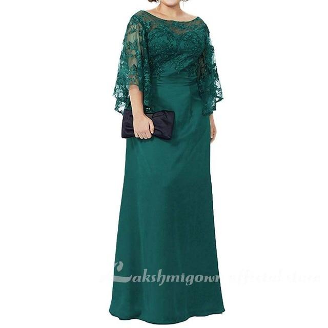 Blue Lace Top Plus Size Mother of the Bride Dress 6