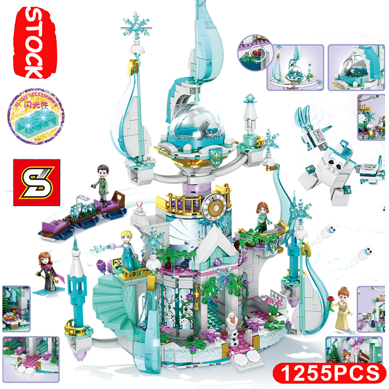 2020 New Enchanted Magical Tree House Elsa Olaf Ice Snow Princess Castle Place Set Fit Lepining Frozeningly 2 Friends 41164 image