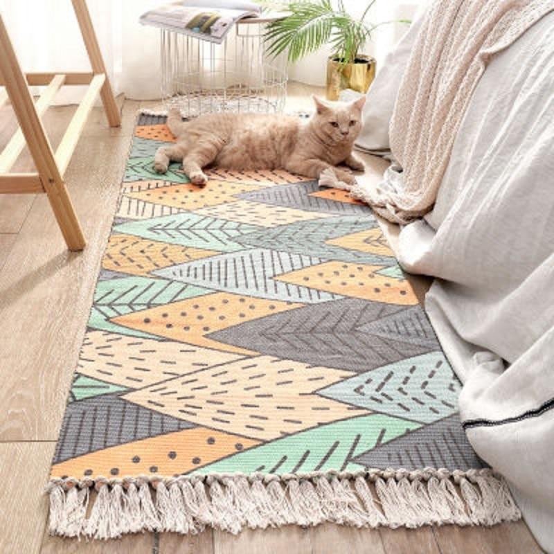 Household Carpet Handmade Tassel Woven Cotton Linen Carpet Bed Carpet Ins Wind Floor Mat Long Carpet Home Decoration Mat