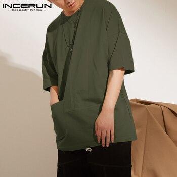 Chemise INCERUN Hommes T-shirt Couleur Unie O Cou Manches Courtes Poches Streetwear T-Shirt Décontracté Hauts 2021 été Respirant Hommes Vêtements S-5XL 1