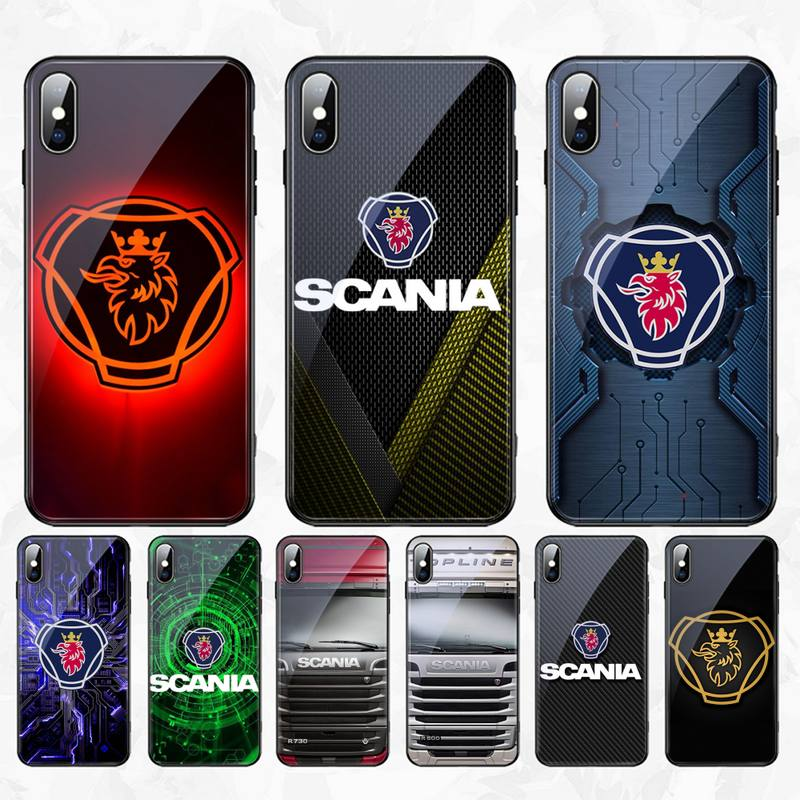 HPCHCJHM Scania truck logo Cover Phone Case Tempered Glass Phone Case For iPhone 11 Pro XR XS MAX 8 X 7 6S 6 Plus image