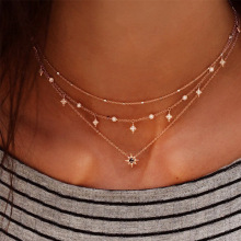 Europe and the United States fashion new women's multi-layer star pendant neck chain hand necklace combination fashion set цена 2017