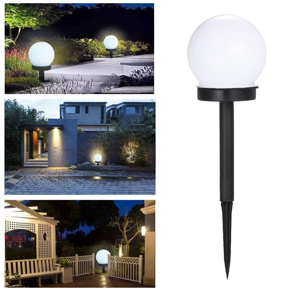 2pcs/lot Round LED Solar Light Waterproof Sunlight Power Lamp Outdoor Path Yard Lawn Ball Light For Garden Courtyard Decoration