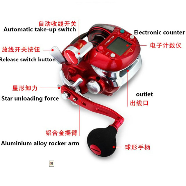 Ecooda 7000lb חשמלי סליל דגי ספינת דיג סירת סליל דיג סליל אדום משלוח חינם