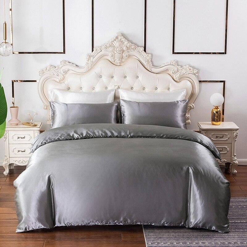 Casa têxtil cor sólida capas de edredão simulação seda luxo conjunto cama colcha capa fronha única dupla rainha rei tamanho