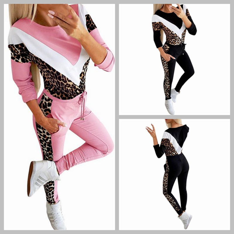 Hot Selling WOMEN'S Dress Europe And America Fashion Leisure Suit Crew Neck Long Sleeve Sports Two-Piece Set Ba0627