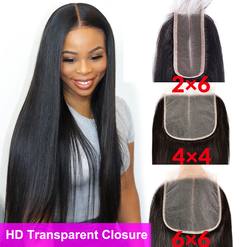 Cheap HD Transparent Lace Closure 2x6 4x4 6x6 Lace Closure Straight Closure 100% Human Hair Swiss Lace Closure Brazilian Closure
