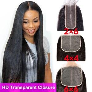 Cheap HD Transparent Lace Closure 2x6 4x4 6x6 Lace Closure Straight Closure 100% Human Hair Swiss Lace Closure Brazilian Closure(China)