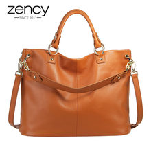 Zency-Bolso de mano 100% de cuero genuino para mujer, bandolera de gran capacidad, color gris, marrón