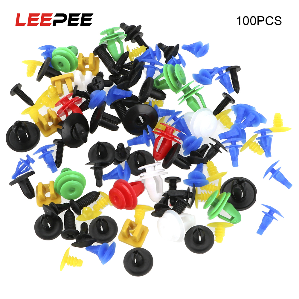 LEEPEE 100/50Pcs Mixed Auto Fastener Interior Accessories Retainer Rivet Door Panel Car-styling Vehicle Car Bumper Clips