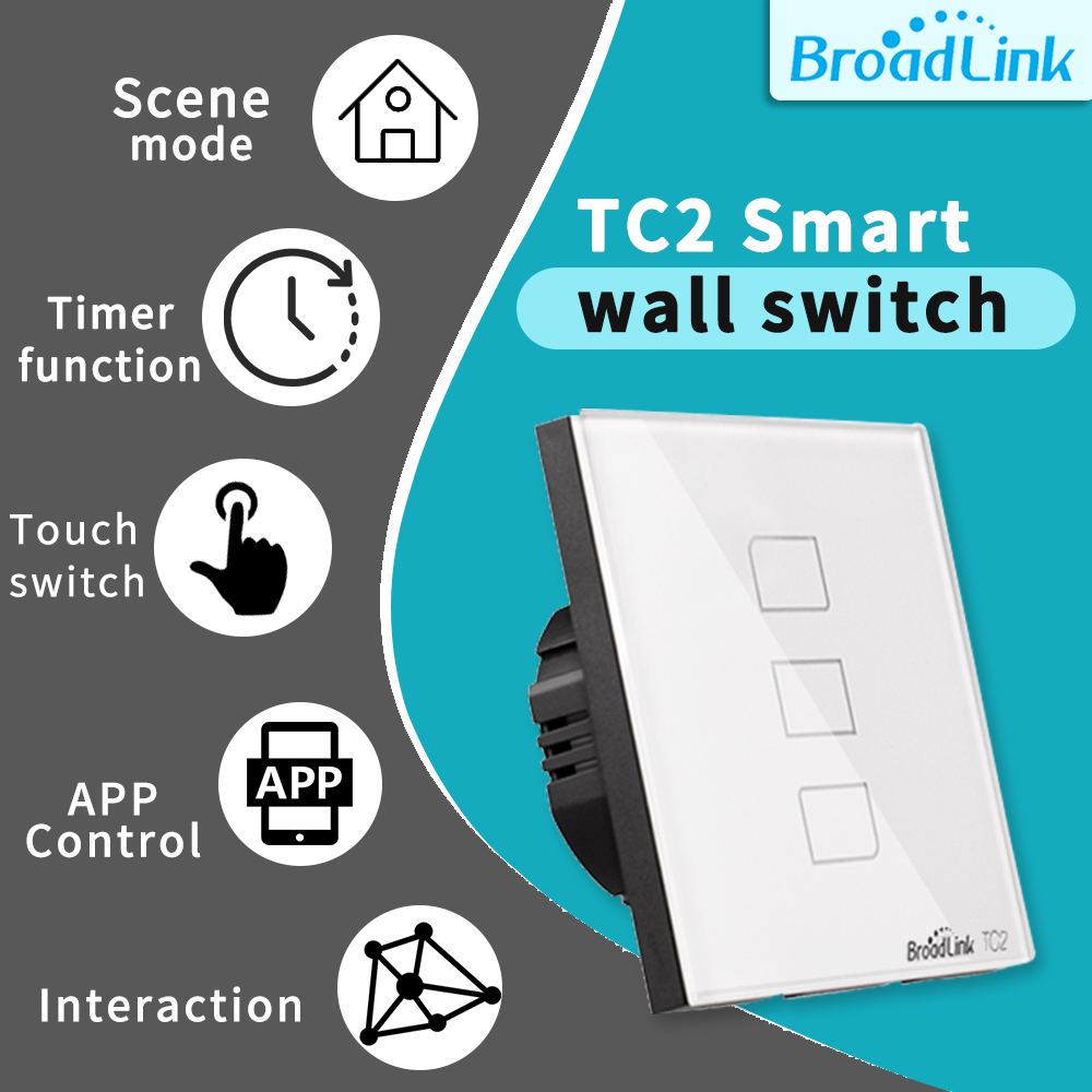 BroadLink 1//2 Gang Smart Wi-fi Enabled Touch Screen Light Switch RM PRO