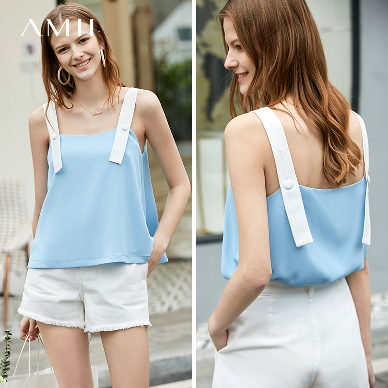 Amii Minimalist Strap Tank Tops Summer Sexy Patchwork Loose Sleeveless Female Casual Vest 11920068