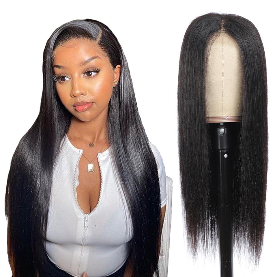 Lace Closue  Wigs Pre Plucked Glueless   Straight 4X4 Lace Frontal Wig with Baby Hair  3