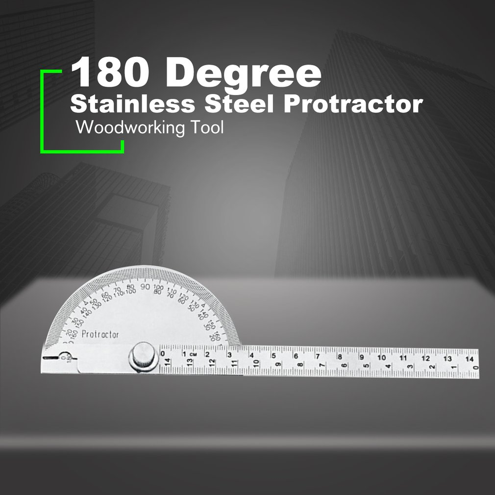 14.5cm 180Degree Adjustable Protractor Stainless Steel Arm Rotary Multifunction Roundhead Angle Ruler Woodworking Measuring Tool