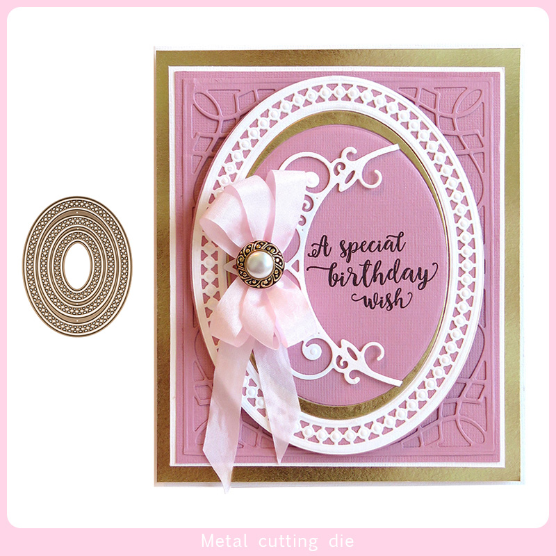 Oval lace frame Metal Cutting Dies for DIY Scrapbooking Photo Album Decorative Embossing Paper Card Crafts Die Cut 2019 in Cutting Dies from Home Garden