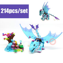 New Blue Water Dragon Adventure Fit Legoings Elves Fairy Friends Model Building Block Brick Gift Kid Toys Girls for Birthday(China)