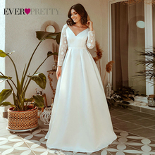 Elegant Wedding Dresses Ever Pretty EP00707WH A-Line V-Neck Long Sleeve Lace Illusion Wedding Gowns For Bride Robe De Mariee