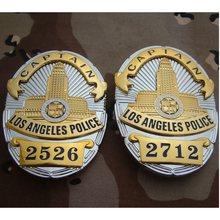 Insignia de capitán de la Policía de Los Ángeles, placa de Metal de Los Estados Unidos, 2526, 2712, 8,2x5,8 cm