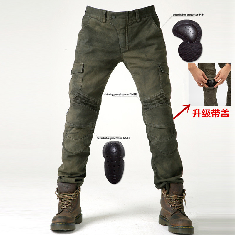 2019 New Komine motorcycle riding jeans models fall pants pants protective pants 06 black green to send protective gear men