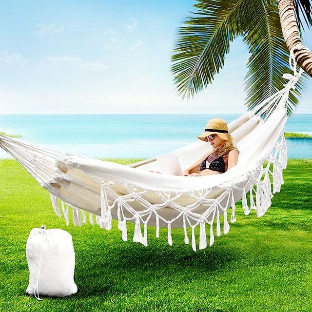 Tassel Hammock White Nylon Canvas hammock