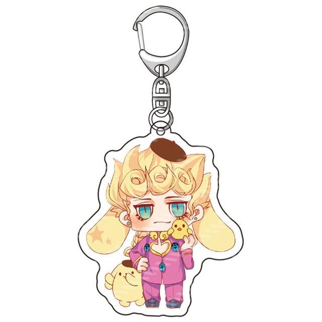Anime JoJos Bizarre Adventure Acrylic Keychains Accessories Cartoon Jotaro Kujo Figure Key Chains Pendant Accessories Key Rings 5