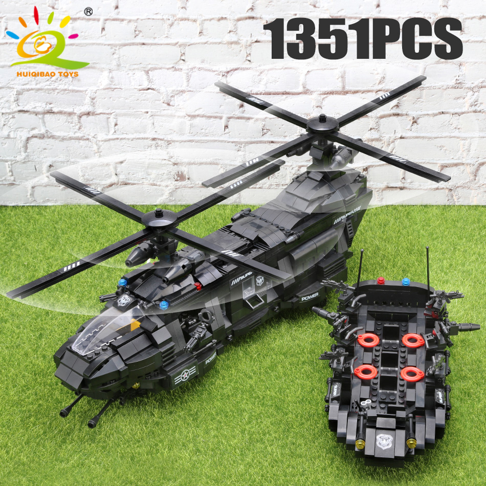 1351pcs Military Swat Team Building Blocks Legoingly Transport Helicopter City Enlighten Bricks Children Gift Army Figures