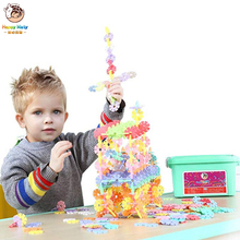New Macaron Color Snowflake Building Blocks Toy Bricks DIY Assembling Classic Early Educational Learning Toys for Kids цена