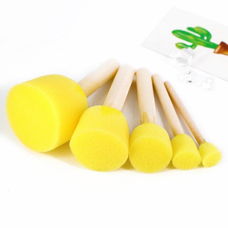 5pcs/set Sponge Paint Brush Child Colouring Toys Wooden Handle Seal Sponge Brushes Kids Children Drawing Painting Graffiti Brush