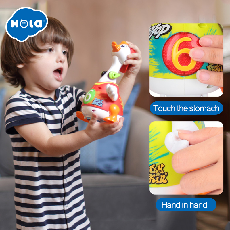 игрушка huile toys танцующий гусь - HOLA 828 Hip Hop Dancing Walking Swing Goose Musical Educational Gift Toy for 1 Year Old Toddlers Learning Educational Toys Gift