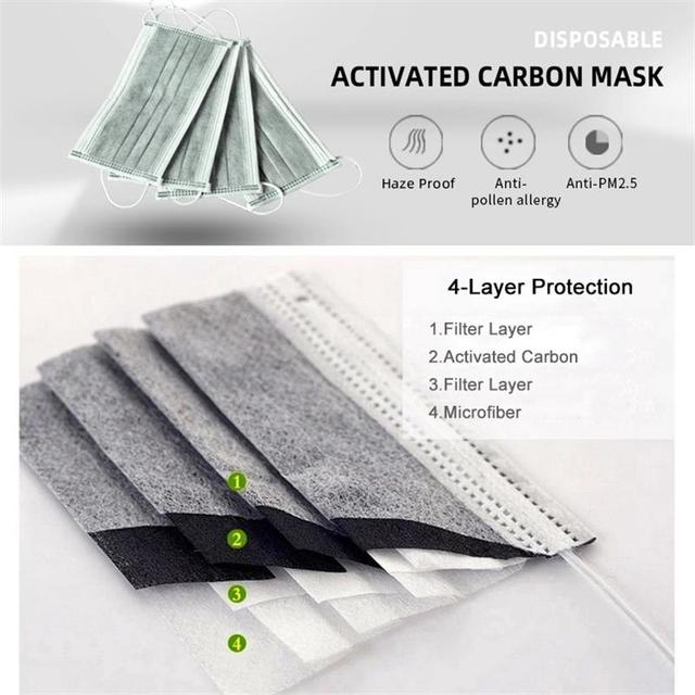 In Stock 50pcs/Box Face Mask 4 Layers Prevent Bacteria Anti Dust Activated Carbon Fliter Proof Flu Mouth Masks Fast Delivery 1