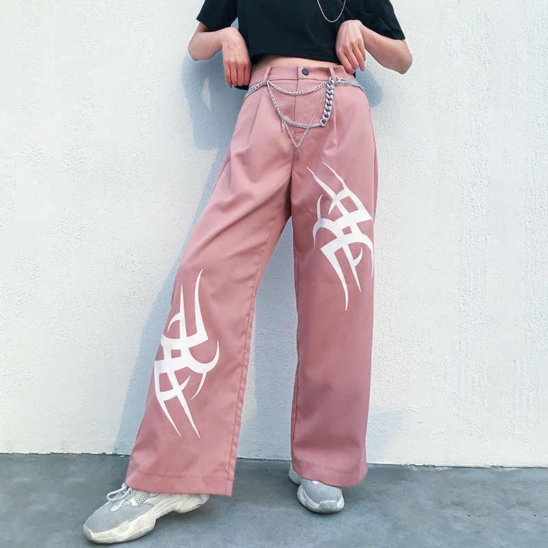 Fitshinling Harajuku уличная широкие брюки женские Модные свободные джоггеры с высокой талией тонкие осенние зимние брюки женская одежда