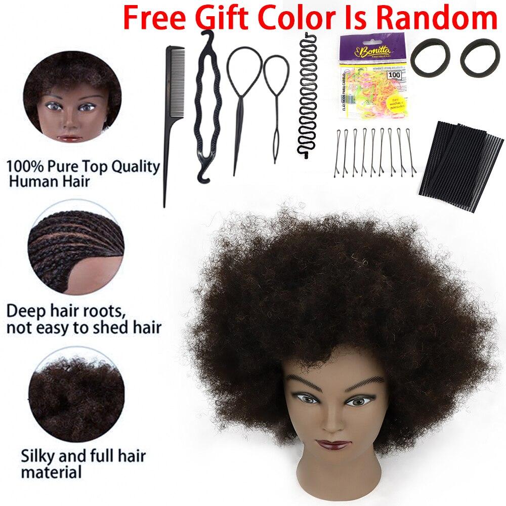 Головы манекена афро 100% человеческие волосы косметология кукла голова парикмахера Стайлинг тренировочная голова для практики резки и плет...
