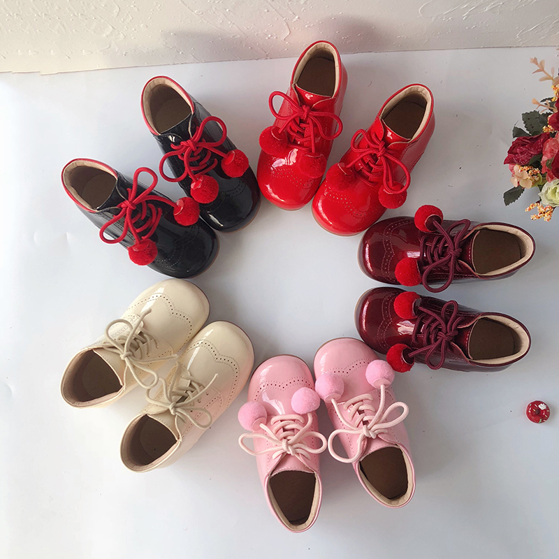 2019Autumn Baby Warm Boots Spanish Girl Sweet Princess Shoes Real Leather Toddler Shoes Kids Boots Girls Girls Winter Boots