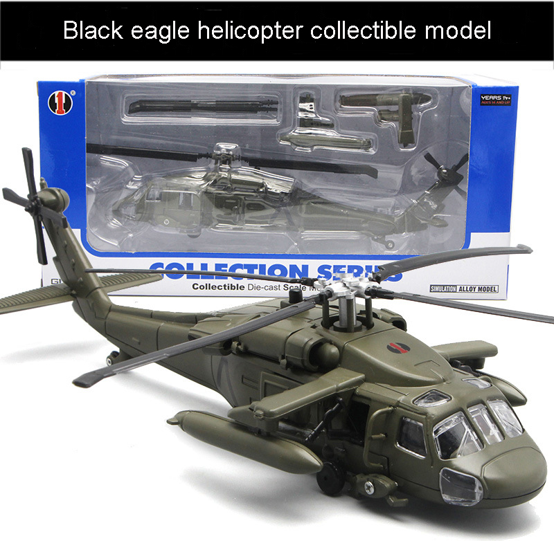 High simulation alloy black eagle helicopter model metal military helicopter diecast with sound and light collectible toys