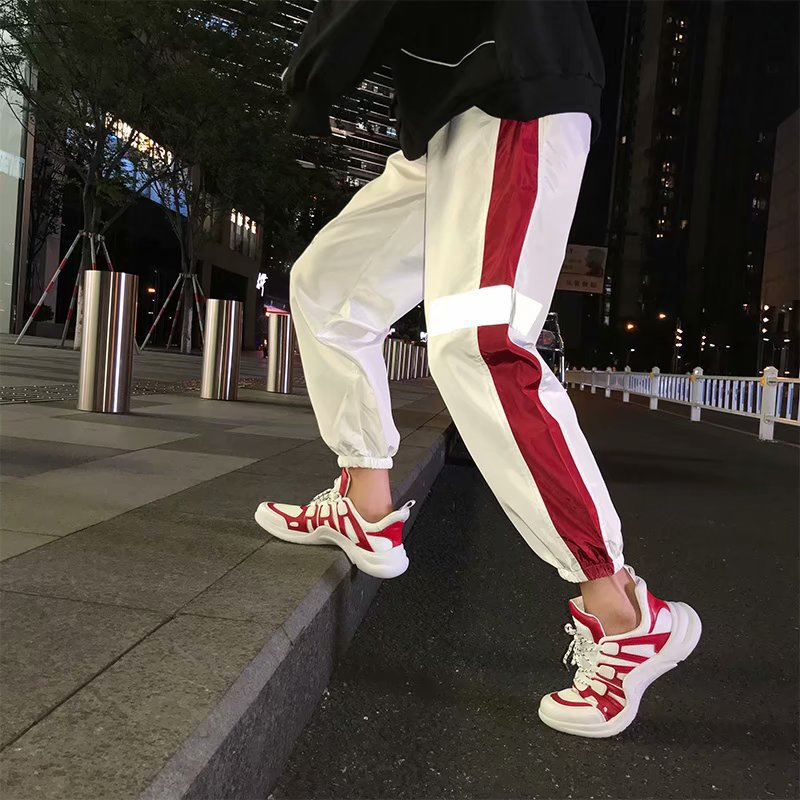 Athletic Pants Men And Women Summer Street INS Super Fire Reflective Pants Loose-Fit Couples Korean-style 9 Points Beam Leg Hare