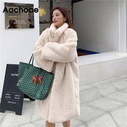 Vrouwen Winter Fashion Faux Fur Lange Jas Effen Losse Turn Down Kraag Dikke Warme Jassen Zachte Casual Lange Mouw Pocket overjas