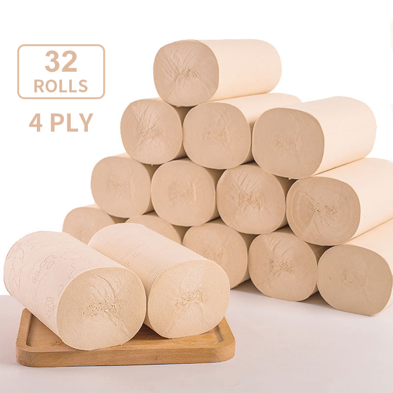 Toilet Paper 100% Recycled 4 Ply Yellow Bath Tissue 32 Individually Wrapped Rolls Per Case Toilet Paper 32 Rolls