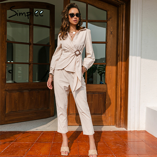 Simplee Casual spring solid wrap women sets office lady V-neck long sleeves two piece set female Elegant cotton sash suits slim 5
