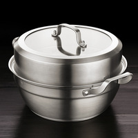 304 Stainless Steel Soup Pot Food Steamer with Cover Double Ear Soup Cooking Pot Household Kitchen Cookware Cooker Stainless Pot