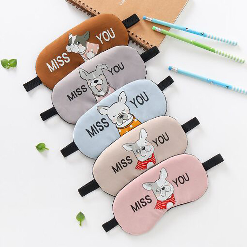 XEONGKVI Korean Cute Cartoon Dog Letter MISS  Cotton Sleep Shading Eye Mask Apply Ice Eliminate Eye Fatigue Women Men Eye Mask