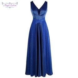 Angel-fashions плиссированное платье с v-образным вырезом и перекрещивающимся крестиком, длинное бальное платье, платье для свадебной вечеринки, с...
