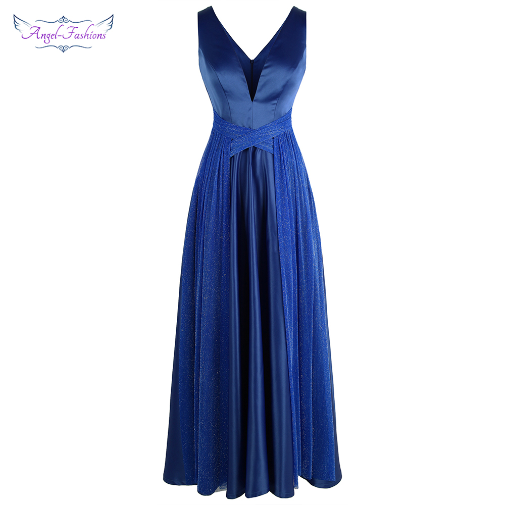 Angel-fashions V Neck Pleated Criss Cross Prom Dress Long Wedding Party Dress Blue 473