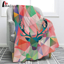 Miracille Colorful Fawn Printed Flannel Blanket Warm Spring Autumn Soft Throw Bed Cover Sofa Bedding Room soft spring autumn 4 color portable blanket fleece bedding throws on sofa bed car chair in living room plaids bedspread