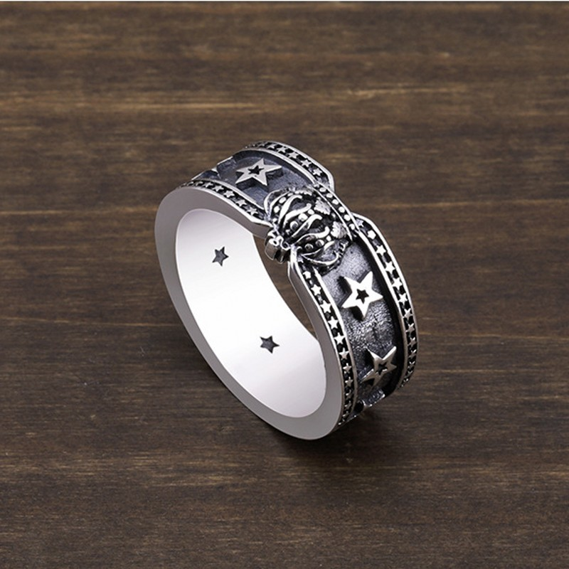 Nouvelle couronne bague pour femme Thai argent 925 pur argent étoiles mode homme argent anneaux unique anneau étoile à cinq branches anneau pour homme