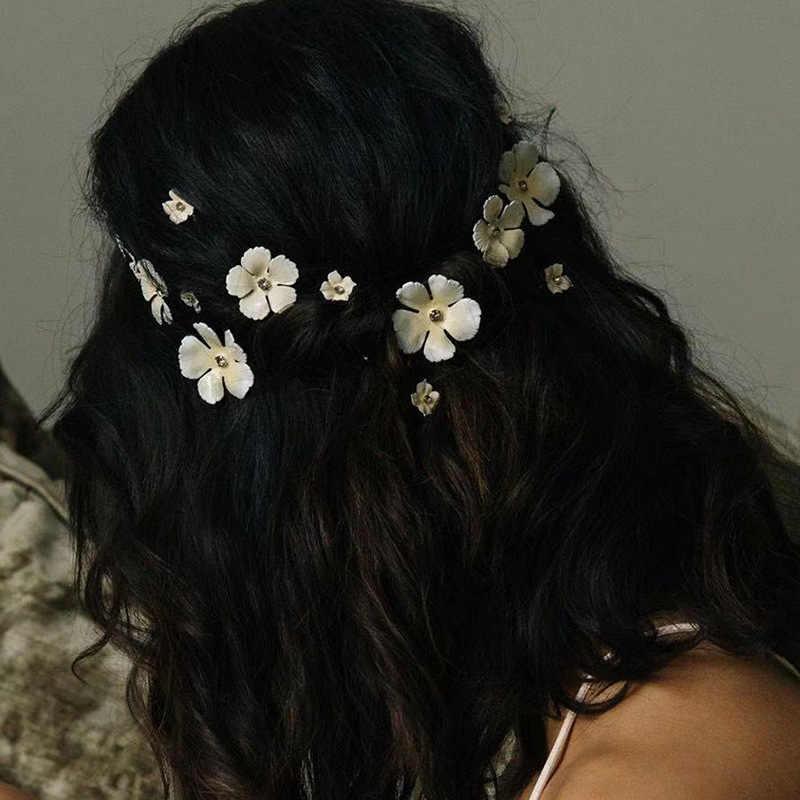 5 stücke Rosa Blume Haar Clips Mädchen Mode Strass Cystal Haarnadeln Kopfschmuck Braut Hochzeit Prom Haar Zubehör Für Frauen