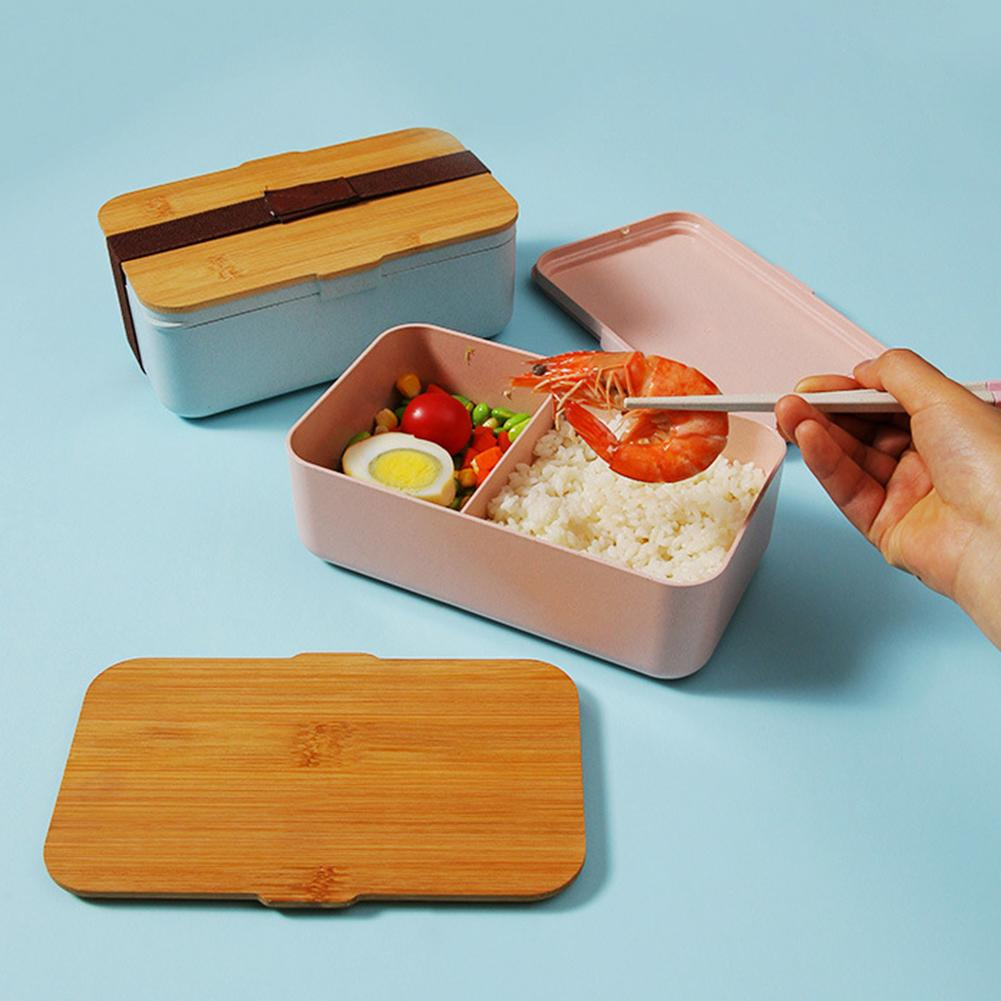 Safe Portable Leak-Proof Microwave Oven Grid Bento <font><b>Lunch</b></font> <font><b>Box</b></font> Durable Bamboo Fiber Food Storage Container With Bandage image