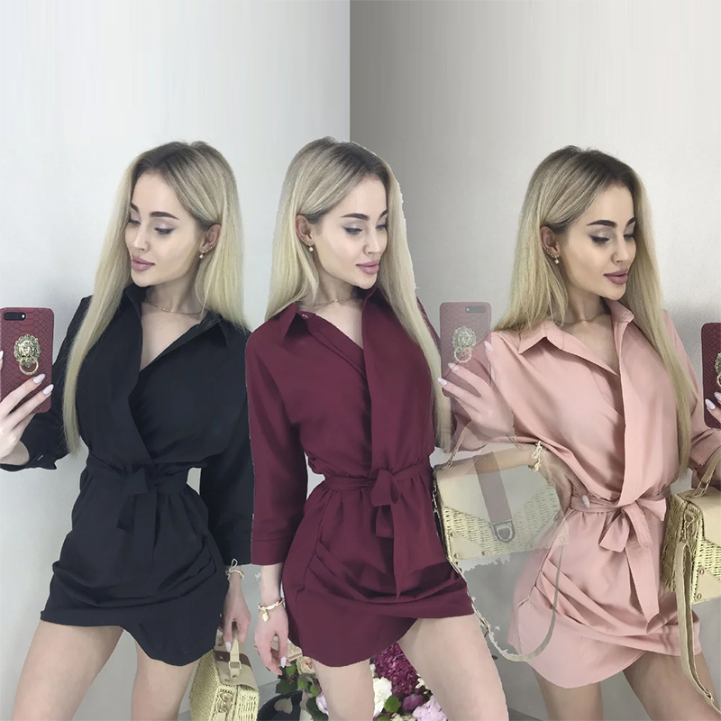 Women Vintage Sashes A-line Mini Party Dress Long Sleeve Turn Down Collar Solid Elegant Casual Dress 2020 Spring Fashion Dress
