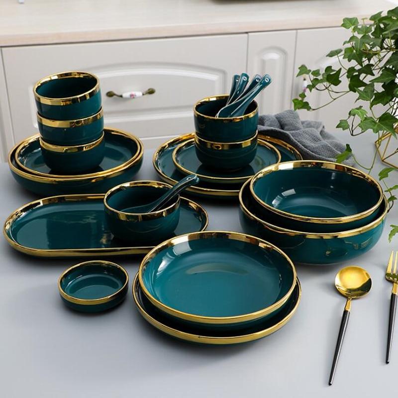 Позолоченная зеленая керамическая тарелка стейк пищевая тарелка посуда миска Ins блюдо для ужина высококачественный фарфоровый набор посуд...